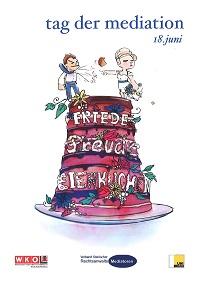 Hochzeitstorte mit Aufschrift: Friede, Freude, Eierkuchen. Darauf steht ein streitendes Hochzeitspaar