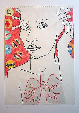 Anne Lückl: o. T., 2020, Zeichnung auf Papier (auf Karton 70 x 50 cm)