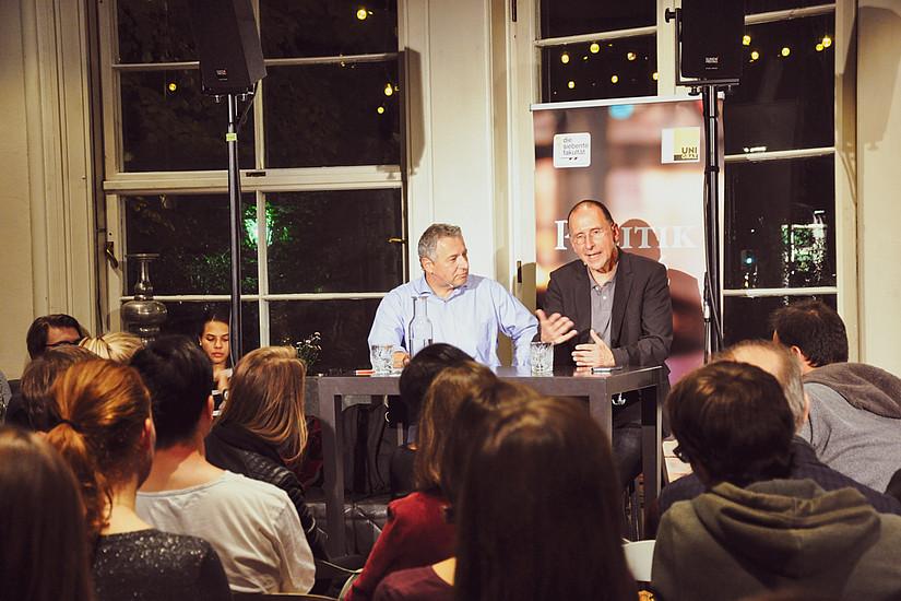 Peter Filzmaier und Markus Steppan im Café Promenade im Gespräch zur Nationalratswahl 2019. Foto: Uni Graz/Koppelhuber