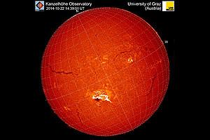Energiereicher Strahlungsausbruch auf der Sonne am 22. Oktober 2014, beobachtet am Observatorium Kanzelhöhe der Uni Graz