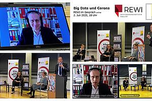 """Diskussion live und online: """"REWI im Gespräch"""" fand auf beiden Kommunikationswegen erstmals und erfolgreich statt. Foto: REWI-Dekanat."""