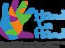 Logo Hand in Hand: bunt bemalte Hand und Schriftzug