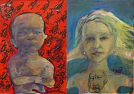 Anne Lückl: Einsichten – Aussichten: Looking Forward, 2019 (Acryl/Lwd, Marker, Folie, Nähseide, 2 Teile, je 70 x 50 cm)