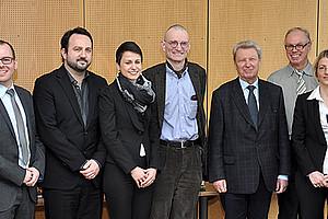 V.l.: Jörn Kleinert (VWL, Uni Graz), Michael Scholz (VWL, Uni Graz), Markus Schimautz (Gemeinderat, Stadt Graz), Pirmin Fessler (OeNB), Nora Skopek (Uni Bamberg), Daniel Eckert (Finanzwissenschaft, Uni Graz), Richard Hauser (Uni Frankfurt), Richard Sturn