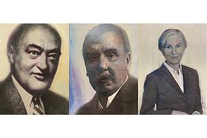 Joseph Schumpeter, Hans Gross und Irmgard Griss (v.l.), wie sie von den Künstlerinnen Veronika Sengstbratl, Nina Kern und Ophelia Reuter portraitiert wurden.