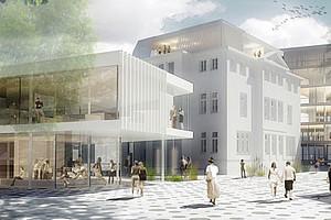 Am Standort Schubertstraße entsteht in den nächsten Jahren ein dreiteiliger Gebäudekomplex, der unter anderem die ÖH und ein Zentrum für kreative Ideen beherbergen wird. Grafik: ARGE lebidris architektur / ir architektin iris reiter