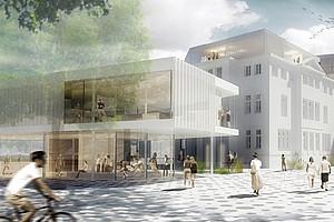 Ein neues Gebäude am Standort Schubertstraße 6a: Bis 2020 entsteht hier ein Wissens- und Innovationstransfer-Zentrum mit Raum für junge UnternehmerInnen. Die ÖH und das ÖH Servicecenter bekommen Platz im vorderen Bau. Foto: ARGE leb idris architektur + architektin iris reiter