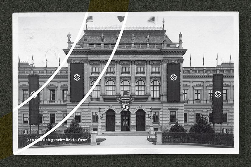 Im Frühjahr 1938 wurde das Hauptgebäude der Universität Graz mit NS-Fahnen beflaggt. Foto: Sammlung Kubinzky