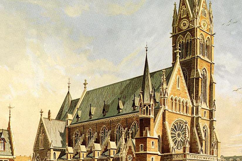 Chromolithographie von der Herz-Jesu-Kirche nach einem Aquarell von Josef Oberbauer, 1896. Quelle: Grazer Privatbesitz.
