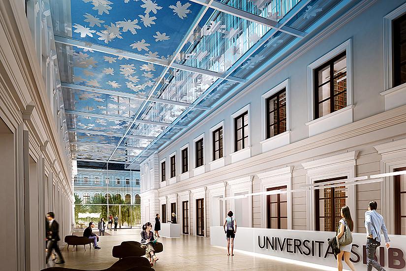 Ein Atrium verbindet künftig Hauptgebäude und Bibliothek. Visualisierung © Atelier Thomas Pucher ZT GmbH