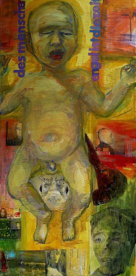 Anne Lückl: Des Menschen Engel ist die Zeit, 2015 (Acryl, Kohle, Collage auf Leinwand, 100 x 50 cm)