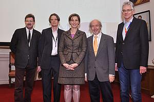 Eröffneten die Fachtagung zu Digitalen Geisteswissenschaften: Peter Scherrer, Malte Rehbein, Sabine Ladstätter, Georg Brasseur und Johannes Stigler (v.l.)