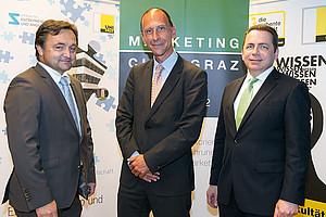 Gastgeber Alfred Gutschelhofer, Politologe Peter Filzmaier und SOWI-Dekan Thomas Foscht (v.l.) Foto: Oliver Wolf