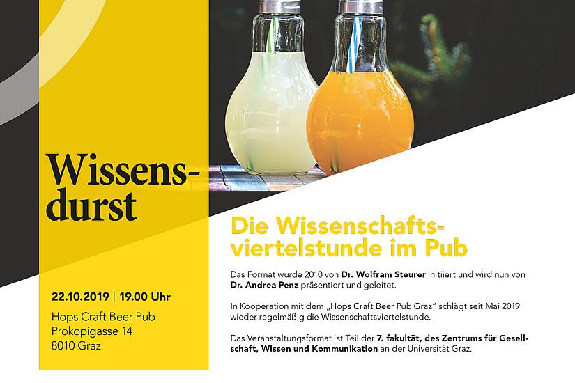 """Die Universität Graz lädt am 22. Oktober wieder zur """"Wissenschaftsviertelstunde"""" in den Pub. Foto: Uni Graz"""
