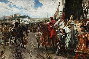 Der letzte muslimische Stützpunkt fällt 1492 mit der Stadt Granada - mit weitreichenden Folgen für MuslimInnen bzw. Juden und Jüdinnen in Europa. Dargestellt ist hier die Kapitulation von Muhammad XII. vor Isabella I. von Kastilien und Ferdinand II. von Aragón.