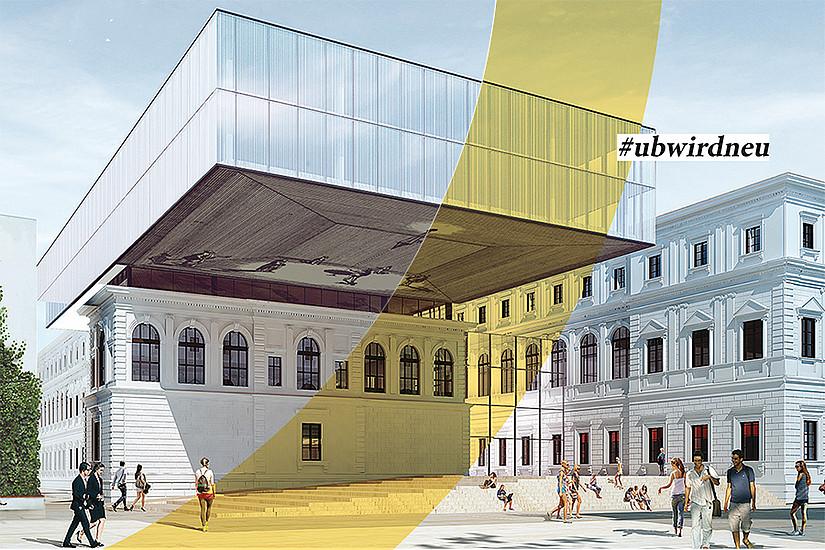 Ein Gebäude spricht Bände: die neue Universitätsbibliothek. Rendering: BIG/Anna Artaker