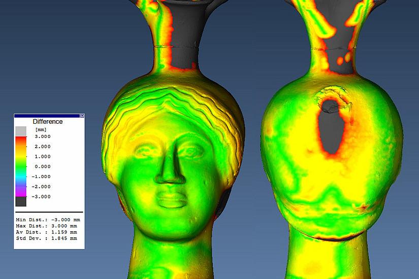 Am Beispiel 3D-Scann dieser attischen Kopfkannen kann man sehen, wie die Handwerker in der Antike gearbeitet haben. Digitale Verfahren verraten genaue Details über das Objekt, die mit dem freien Auge nicht erkennbar sind. Foto: Uni Graz, Hexagon