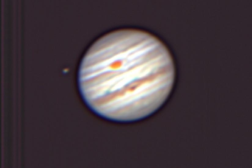 Jupiter mit großem roten Fleck (Aufnahme A. Hanslmeier, Privatsternwarte, Bairisch-Kölldorf)