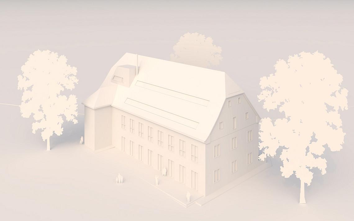So könnte das neue Gebäude am Rosenhain künftig aussehen. Geplant ist ein neuer Standort für die Bewegungswissenschaften. Bild 3D-Modell: Architekturbüro Leb-Idris.
