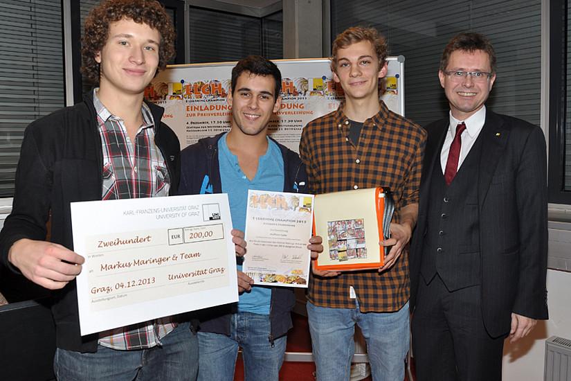 Die meisten Stimmen im online voting konnten Markus Maringer, Samuel Scheicher und Bernhard Ringer für ihr Projekt  Wolfram Alpha für sich verbuchen.