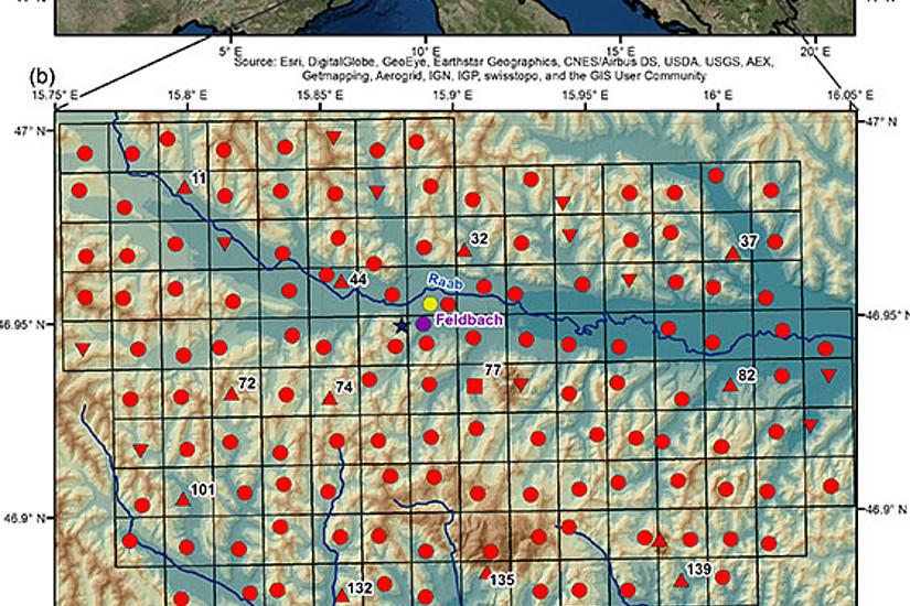 Das WegenerNet in der Südoststeiermark umfasst über 150 Stationen zur Langzeitbeobachtung von Wetter und Klima als Teil der internationalen Klimaforschungs-Laborregion Steirisches Raabtal. Grafik: Uni Graz/Wegener Center 2017