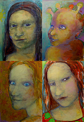 Anne Lückl: Corona-Quartett (Mona, Kind, Lisa, Madonna), 2020 (Acryl auf Leinwand, jeweils 40 x 30 cm)