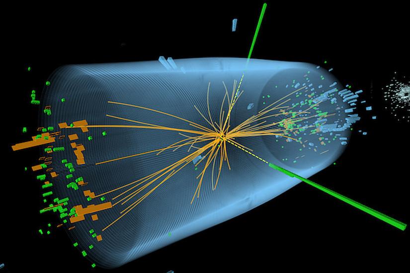 Das Higgs-Teilchen dürfte auch ein Bestandteil eines Protons sein, wie Physiker kürzlich berechneten. Illustration: CERN/ATLAS and CMS