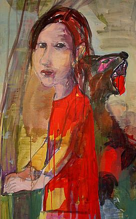 Anne Lückl: o. T. (Acryl auf Leinwand, 155 x 75 cm)