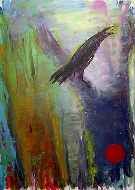 Anne Lückl: Corvus corona, 2020 (Acryl auf Leinwand, 70 x 50 cm)