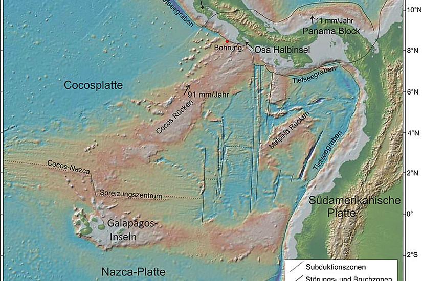 Vor der Küste Costa Ricas schiebt sich die Cocosplatte von Süden unter die Karibische Platte. Abbildung: CRISP-A2, doi:10.2204/iodp.pr.344.2013