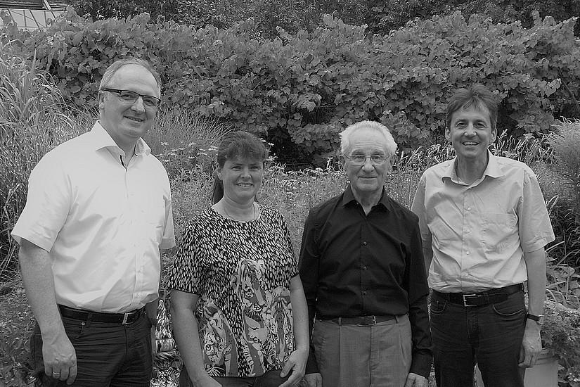 Prof. Dr. Christoph Heil, Patricia Brumüller (Redemptoristenkloster Eggenburg), Prof. Dr. Franz Zeilinger, Prof. DDr. Reinhold Esterbauer im Juli 2017. Foto: Siegfried Kager