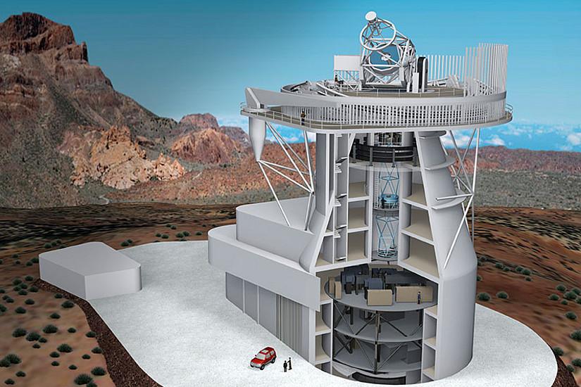Modell des European Solar Telescope. Grafik: EST