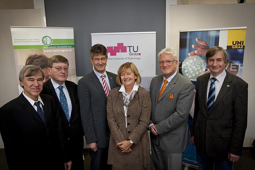Lohner (ehem. IBN), Stingl (ÖAW); Kainz (TU Graz); Neuper (Uni Graz); Burkert (BMWF) und Smolle (Med Uni Graz)