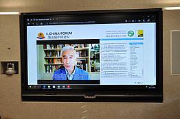 Univ.-Prof. Dr. Chenguang Wang am Screen