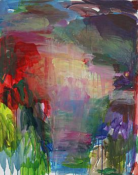 Anne Lückl: Garten der Finzi-Contini, 2021 (Acryl auf Leinwand, 100 x 80 cm)