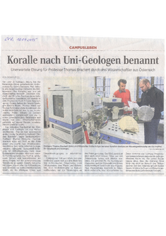 Newspaper article in the Leipziger Volkszeitung about the new described fossil coral species Parascolymia bracherti (Reuter et al., 2015).