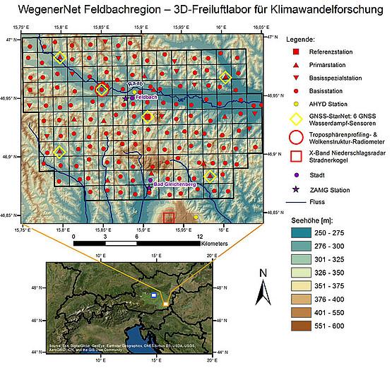 Das WegenerNet ist ein dichtes Klimastationsmessnetz, das ab 2020 mittels dreidimensional messender Atmosphärensensoren zu einem einmaligen 3D-Freiluftlabor aufgewertet wird. Grafik: Uni Graz, Wegener Center 2020