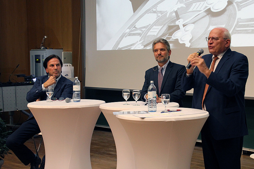 Franz Voves, Thomas Krautzer und Claus Raidl bei den 10. Grazer Wirtschaftsgesprächen an der Universität Graz