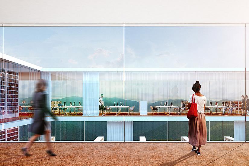 Auf das Dach des historischen Gebäudes setzt der Architekt einen quaderförmigen, zweigeschoßigen Bau auf. Visualisierung © Atelier Thomas Pucher ZT GmbH
