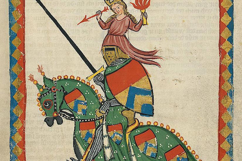 In der Umgebung der Burgruine Frauenburg macht ein Literaturpfad das Schaffen Ulrichs von Liechtenstein wieder lebendig. Das Bild zeigt sein Portrait in der Liederhandschrift Codex Manesse. Quelle: Wikipedia, https://digi.ub.uni-heidelberg.de/diglit/cpg848/0469/image