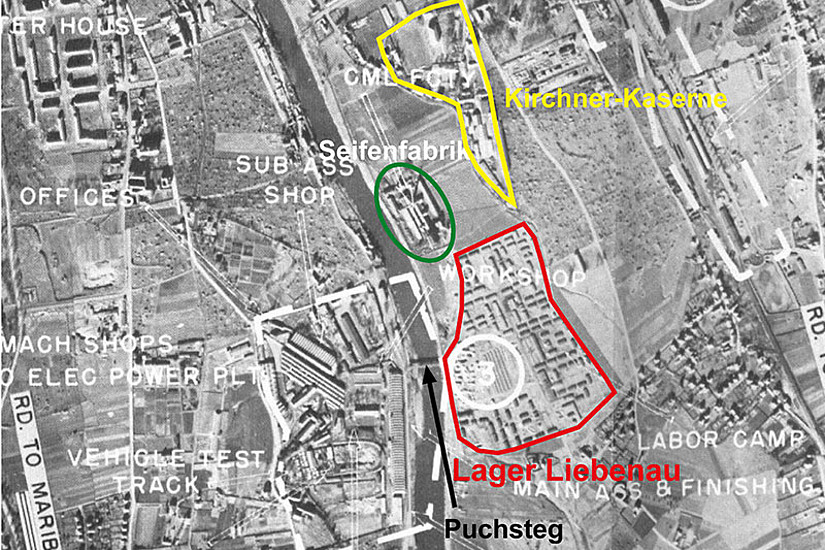 """Die US Air Force zeichnete das Lager Liebenau in der Luftbildaufnahme vom Mai 1944 als """"Labor Camp"""" ein. Quelle: NARA, RG 243, 4, IIIa 1108; Grafik: Martin Florian"""