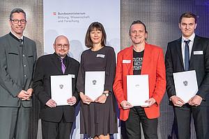 Sektionschef Elmar Pichl, Christian Spielhofer, Antonia Schirgi, Gerald Pichler, und Andreas Reicher (v.l.). Foto: Lusser