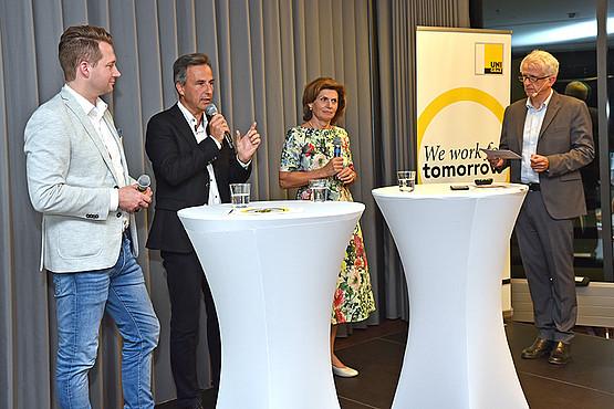 Rainer Will, Siegfried Nagl und Carina Kerschbaumer (v.l.) berichteten, welche Initiativen im Handel, in der Grazer Stadtpolitik und in der Kleinen Zeitung für mehr Nachhaltigkeit gesetzt werden. Foto: Uni Graz/Pichler