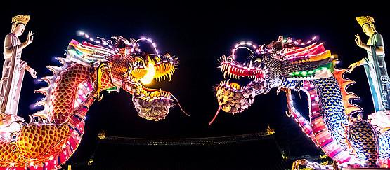 Zwei Neonlichtdrachen bei Nacht