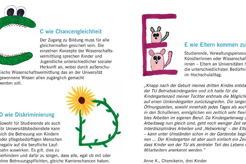 Die Neuauflage der ABC-Broschüre ist vollgepackt mit wissenswerten Tipps rund um Vereinbarkeit und Wissensvermittlung für Kinder. Erhältlich ist sie bei unikid & unicare – universitäre Anlaufstelle für Vereinbarkeit.