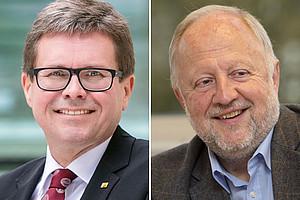 Als Abschluss der Kampagne heute im Doppelinterview: Rektor Martin Polaschek und Helmut Eberhart, academic coordinator der Arqus-Allianz in Graz. Fotos: Uni Graz/Eisenberger; Uni Graz/Lunghammer.