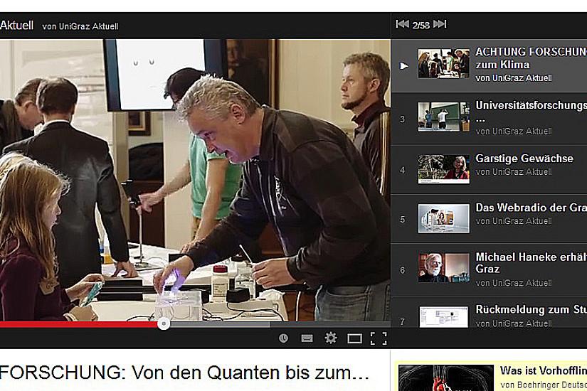 Neues aus den Uni Graz Studios: Filme zu Achtung, Forschung!, Braingame und dem Forschungsschwerpunkt Modelle und Simulation sind online.