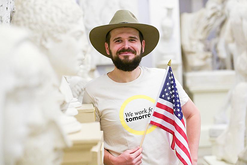 """Der Amerikanist Stefan """"Steve"""" Rabitsch moderiert die zweite Arqus Academic Debate am 29. Oktober 2020, die sich ebenfalls der US-Präsidentschaftswahl widmet. Foto: Uni Graz/Tzivanopoulos."""