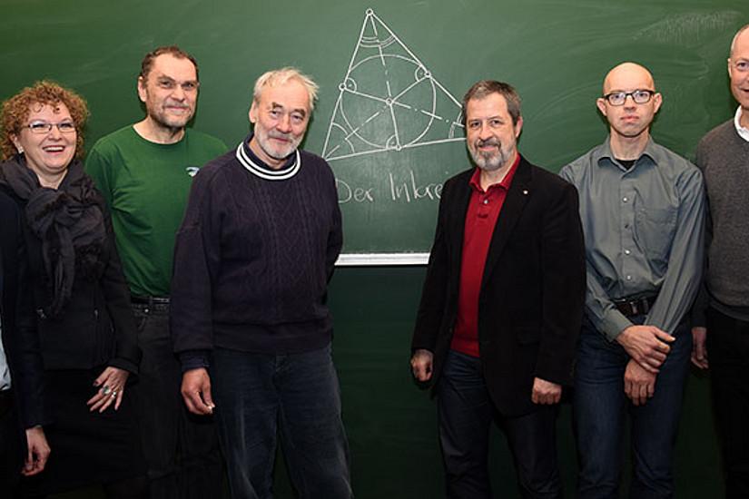 Robert Schütky, Michaela Kraker, Robert Geretschläger, Hans Walser, Bernd Thaller, Johannes Wallner und Günter Maresch. Foto: Uni Graz/Kastrun.