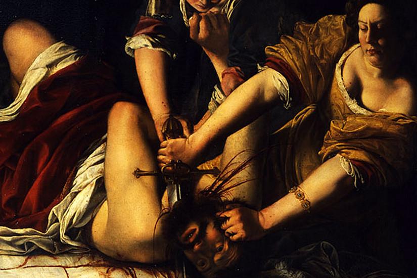 Judith enthauptet Holofernes, der sie zuvor gewaltvoll bedrängt hatte. Gemälde  um 1620 von Artemisia Gentileschi, die mit diesem biblischen Motiv ihre eigene Vergewaltigung verarbeitete. Foto: wikimedia commons.